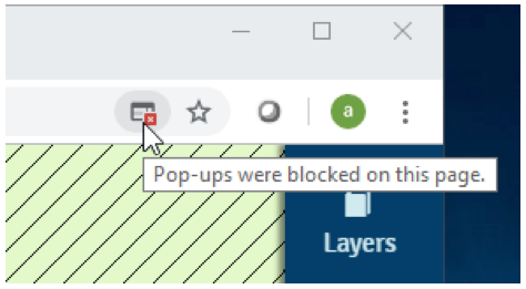 Screen capture of a internet browser window with an icon highlighted, identifying a blocked pop-up