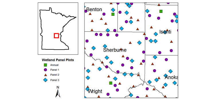 Map of central Minnesota showing the density and distribution of wetland monitoring sample plots.