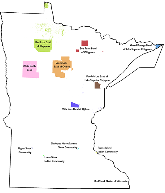 map of minnesota showing the locations of various American Indian tribes in Minnesota.
