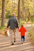 Parent walking with child