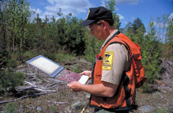 image: DNR forester with management plan in hand