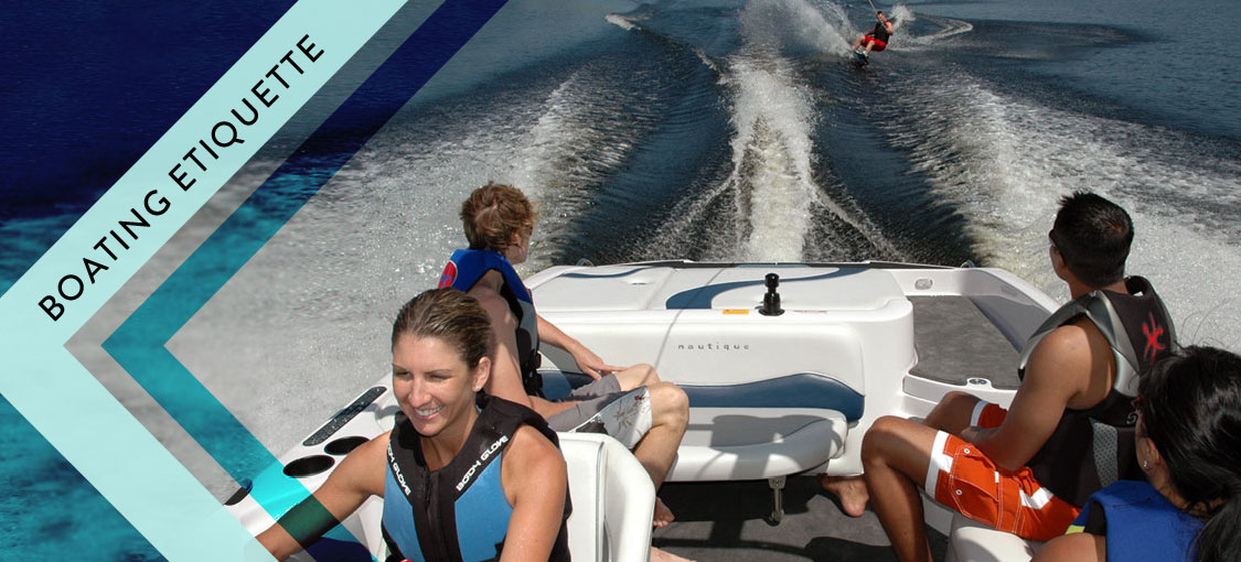 boating etiquette - people boating and pulling a wakeboarder
