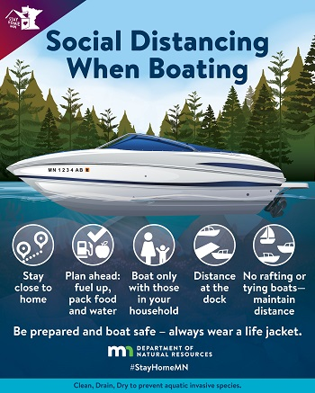 Social distancing when boating. Stay close to home, plan ahead fuel up pack food and water, boat only with those in your household, distance at the dock, no rafting or tying to boats. Be prepared and boat safe, always wear a lifejacket.