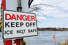 A danger, thin ice sign