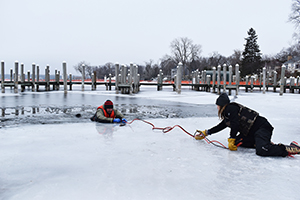 Rescue of victim who's gone through the ice