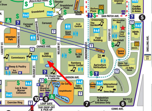 Location map of where the DNR is at the state fair