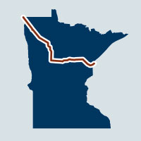 map of minnesota with line across northern half showing route of pipeline