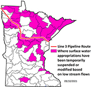 Map of watersheds where appropriations have been suspended