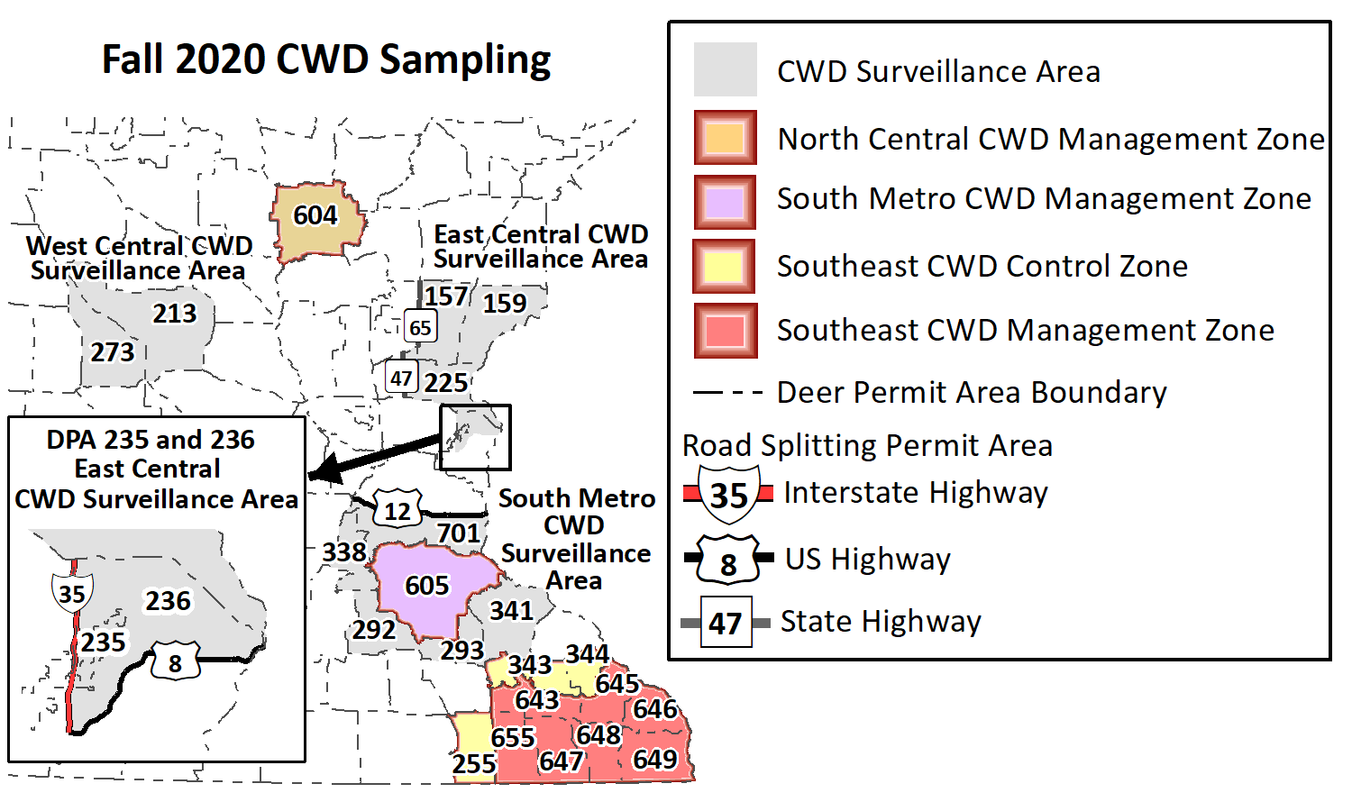 Map showing CWD sampling areas for 2020