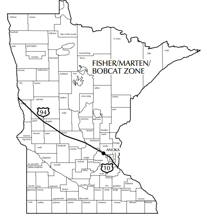 Map showing the fisher, marten and bobcat zone north of interstates 94 and 10.