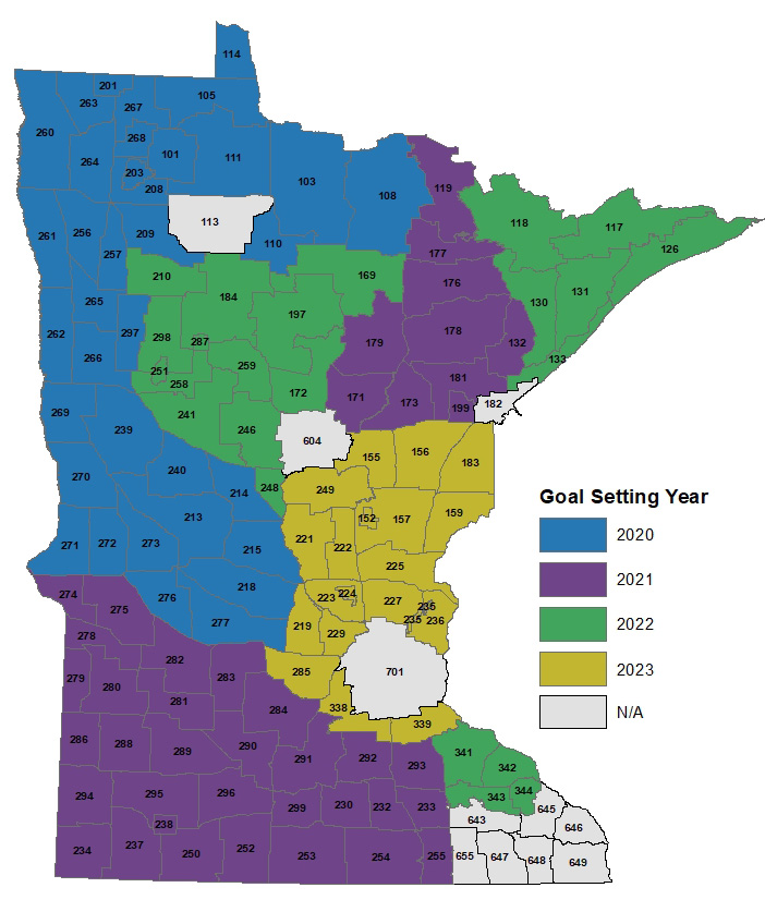Here's a map of goal blocks and dates. The following areas (in gray in the map) are not included in the goal-setting process: Twin Cities metro area, Duluth area, Red Lake Reservation, and disease management areas. Areas in blue are scheduled for 2020, purple for 2021, green for 2022 and gold for 20