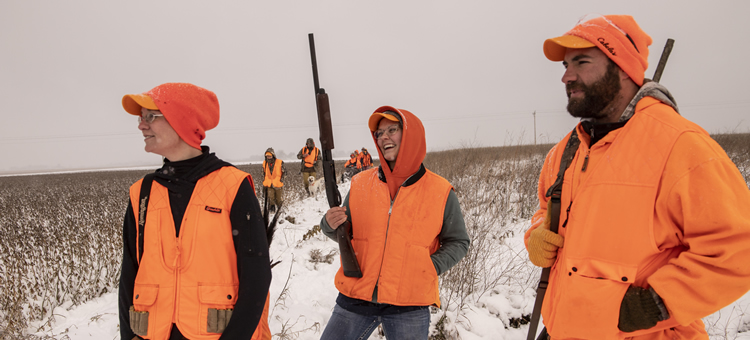 Friends and family pheasant hunting in Minnesota