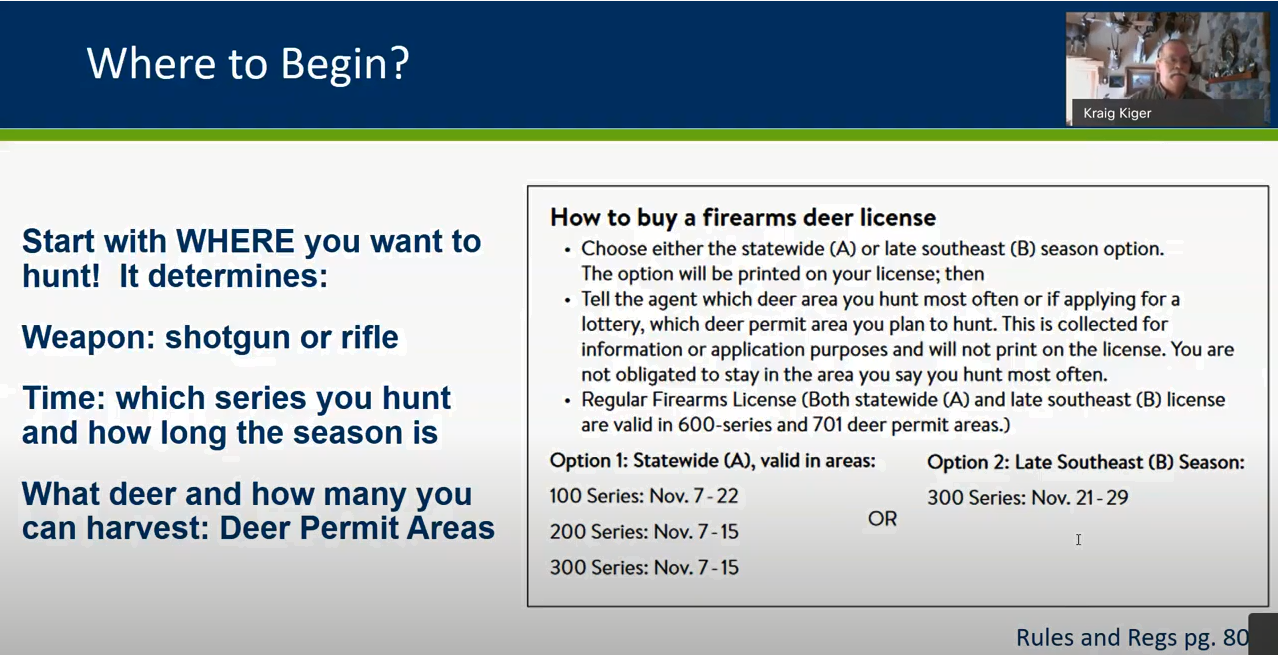 Image showing hunters need to determine where they hunt before attempting to buy a license and link to video tutorial.