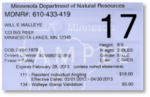 Sample of a Minnesota hunting license
