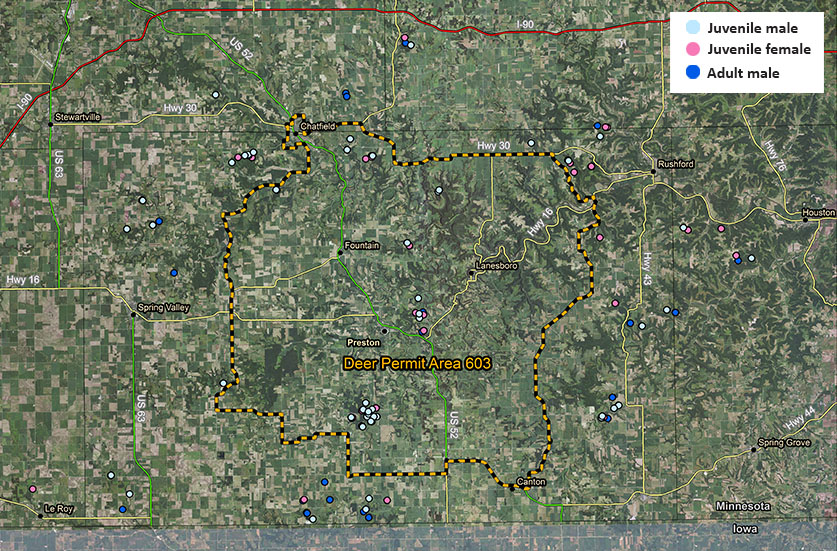 Map of southeast Minnesota deer movement study depicting locations where deer were collared.