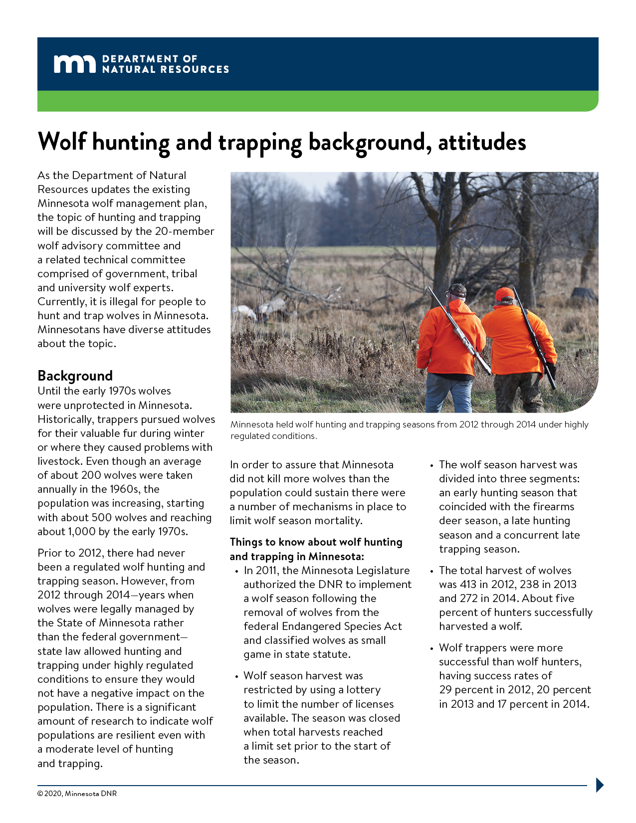 Image of a the wolf hunting fact sheet