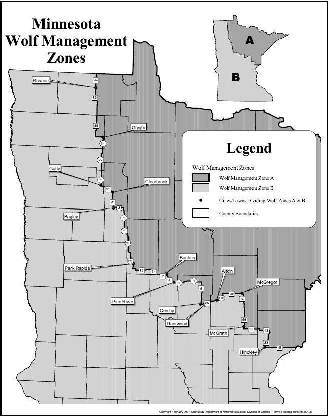 map of wolf zones in Minnesota