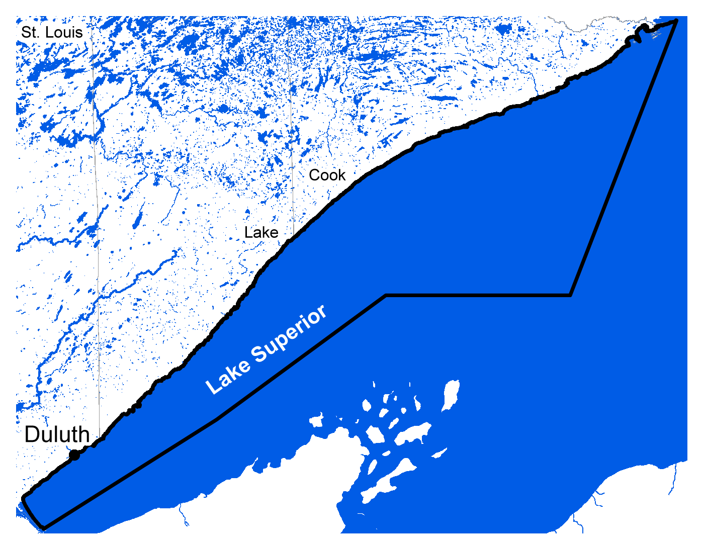 Map of Lake Superior work area