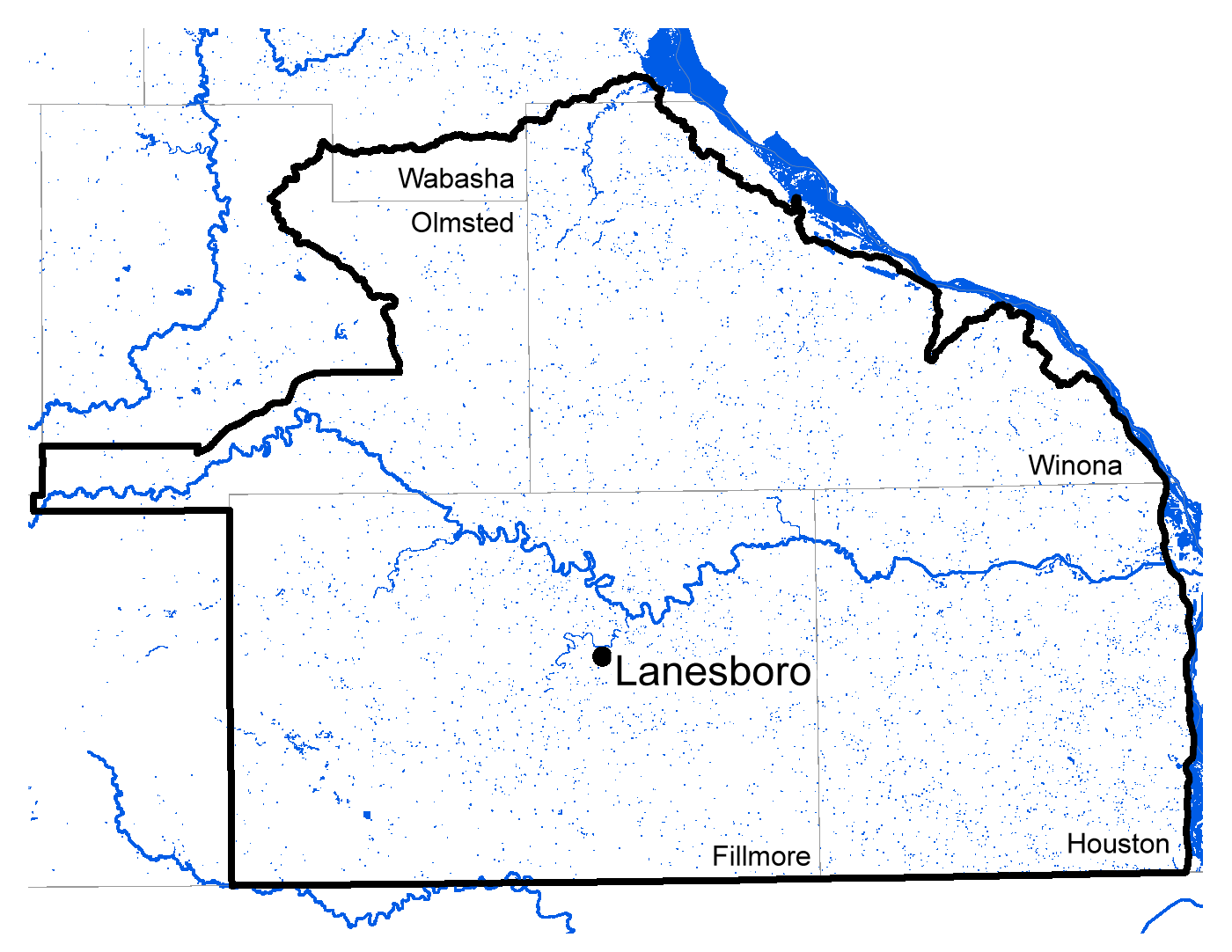 Map of Lanesboro work area