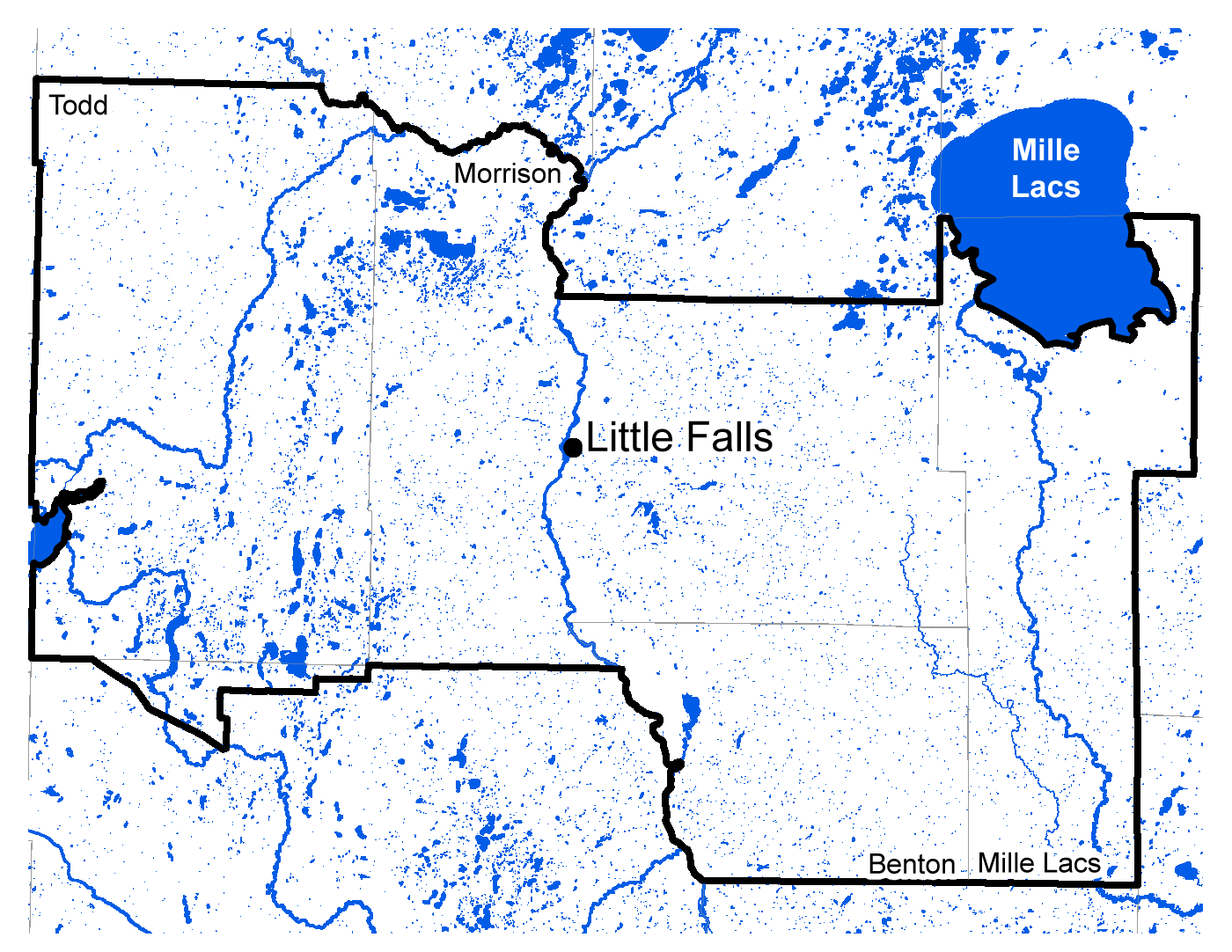 Map of Little Falls work area