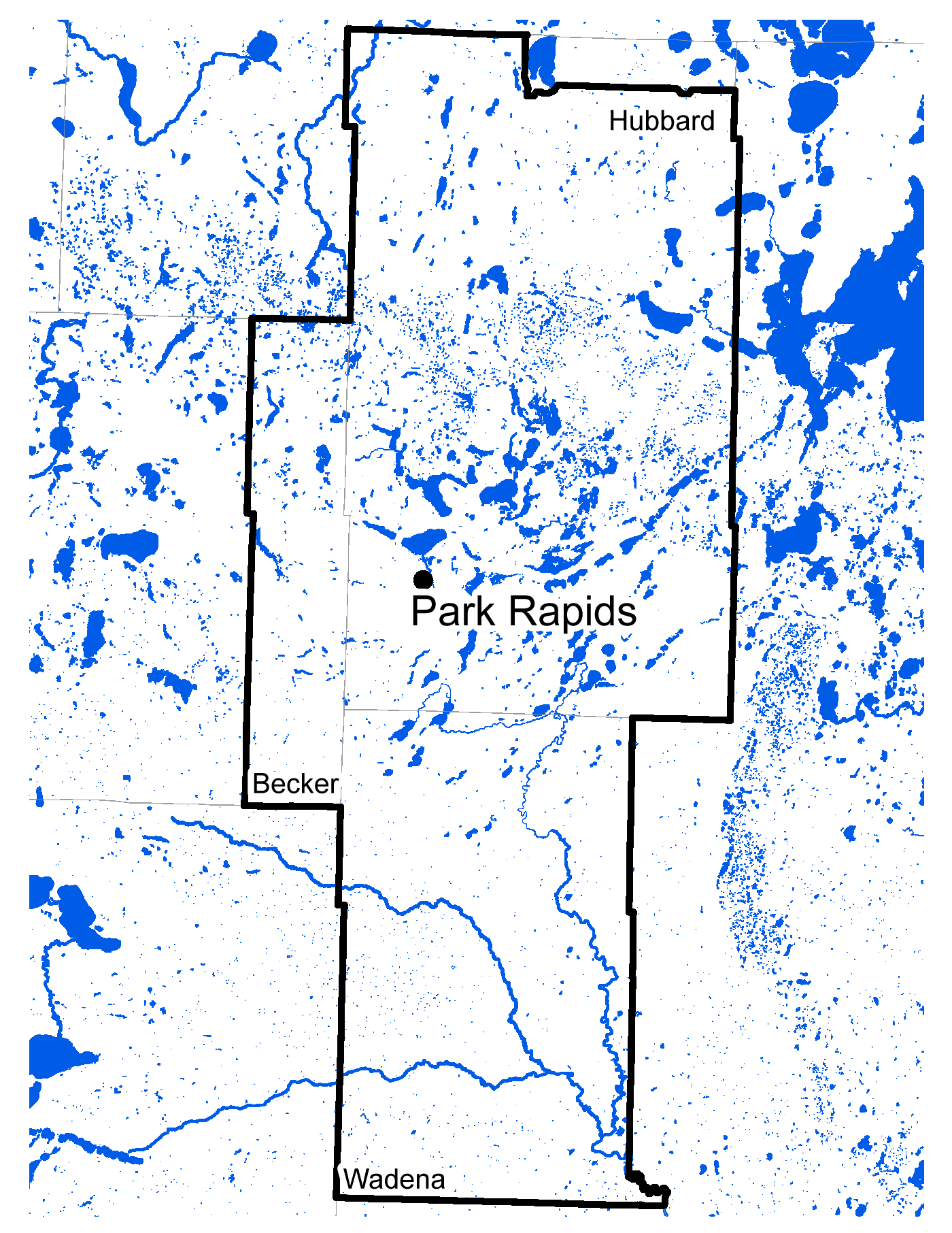 Map of Park Rapids work area