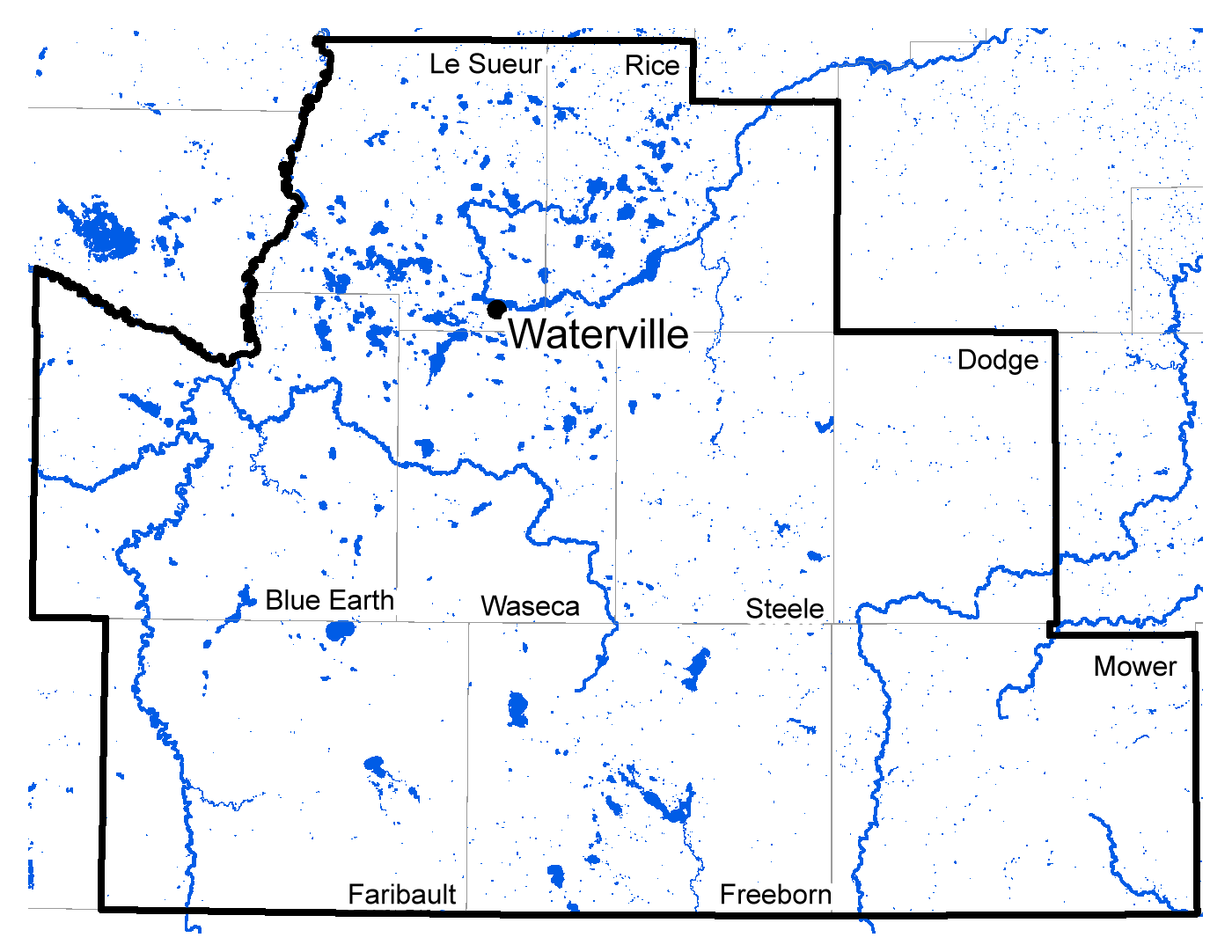 Map of Waterville work area