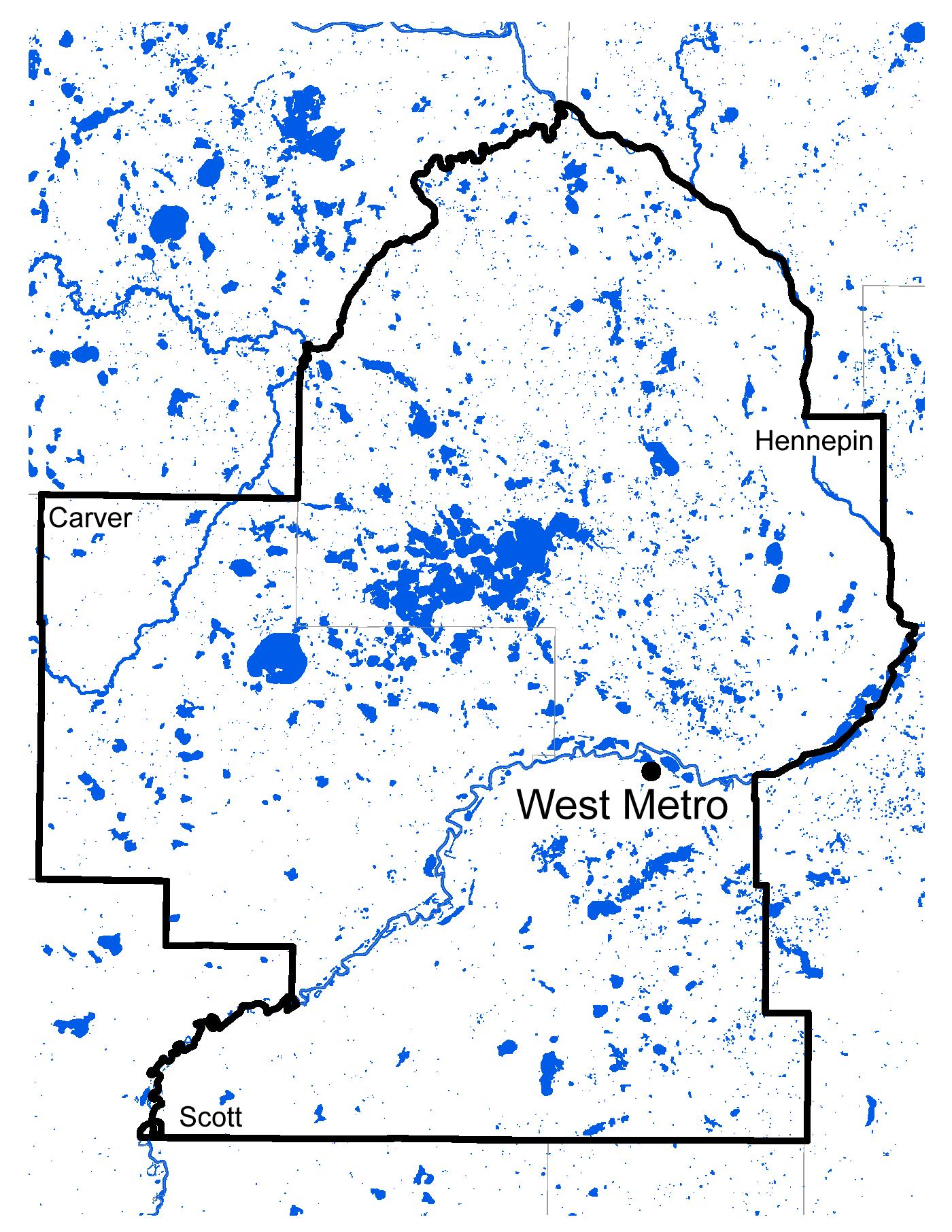 Map of West Metro work area