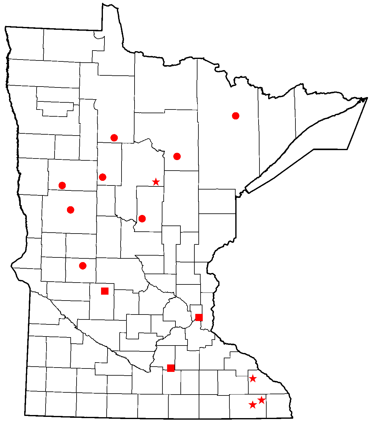 Map showing locations of DNR fish hatcheries
