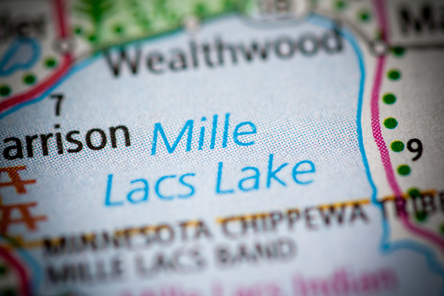 Close-up of Mille Lacs Lake area on a road map
