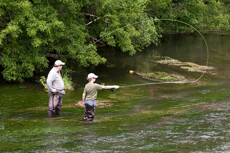 Two angler fly fishing in a southeastern Minnesota trout stream