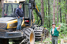 Forester working with logger at the harvest site