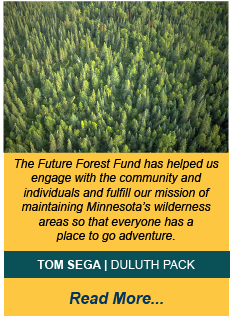 aerial shot of pine forest with testimonial text from Tom Sega. Text found on testimonial page.