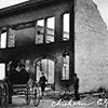 Chisholm Fire 1908, Sept 4. 20,000 acres burned, 0 lives lost. Chisholm City Hall after fire.