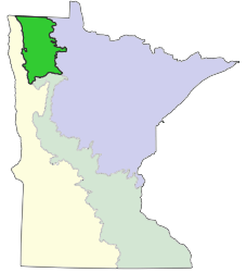Map of Minnesota showing the location of Aspen Parklands Section