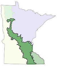 Map of Minnesota showing the location of Minnesota and Northeast Iowa Morainal Section