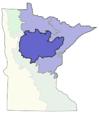 Map of Minnesota showing the location of Northern Minnesota Drift and Lake Plains Section