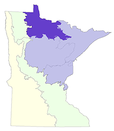 map showing the location of the northern minnesota and ontario peatlands section