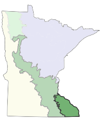 Map of Minnesota showing the location of Paleozoic Plateau Section