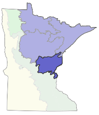 Map of Minnesota showing the location of Western Superior Uplands Section