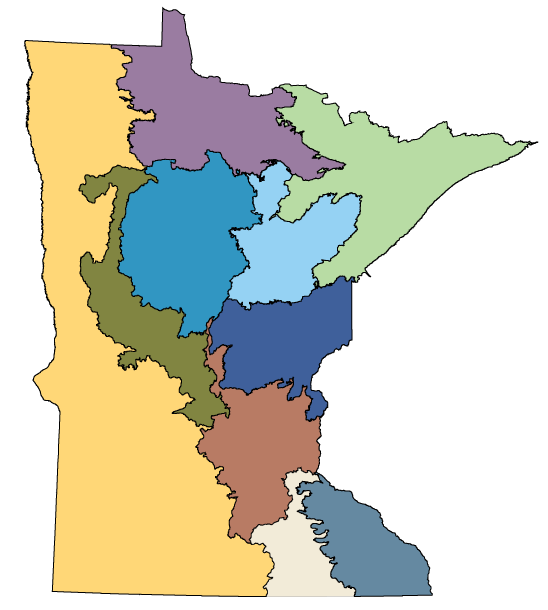 map of Minnesota showing the locations of the woodland books.