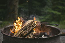 burning pile smoldering
