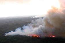 aerial photo showing fire in boundary Waters caneo area