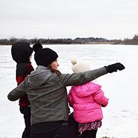 mom and kids on ice