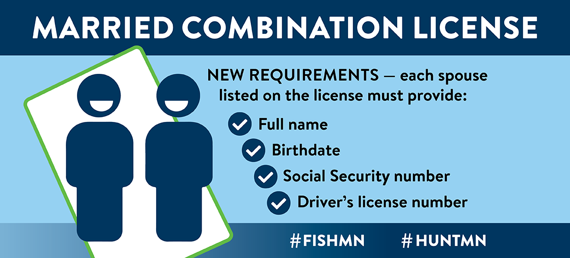 Married combination license. New requirements - each spouse listed on the license must provide: full name, birthdate, social security number, driver's license number. #fishmn #huntmn
