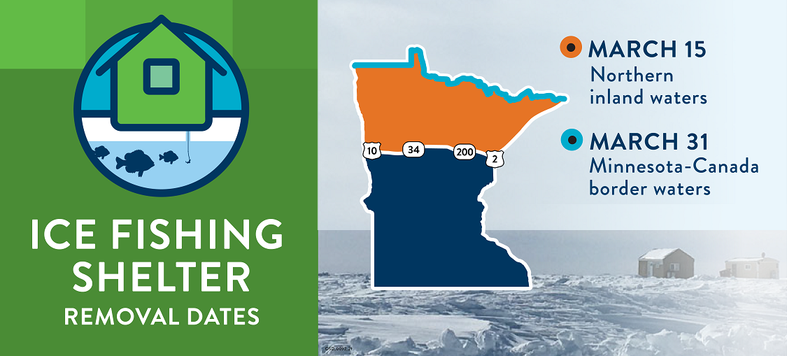 Ice fishing shelter removal dates March 15 Northern Inland waters March 31 Minnesota - Canada border