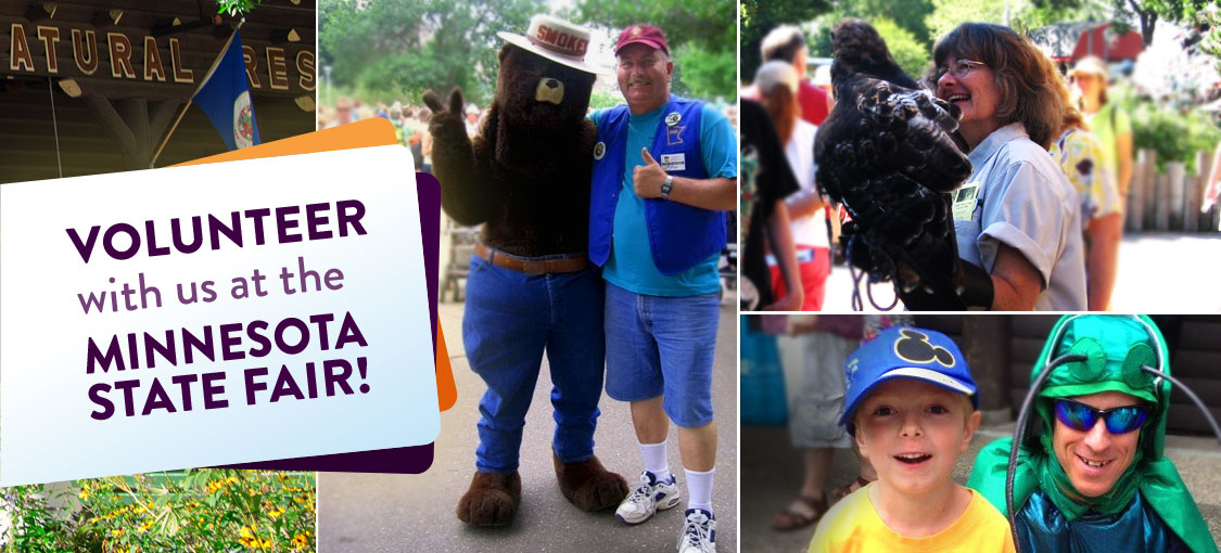 Volunteer with us at the Minnesota State Fair. Photos of Smokey bear, and other volunteers at the fair