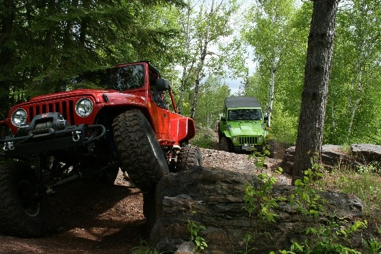 photo: An off-highway vehicle riding a forest trail.