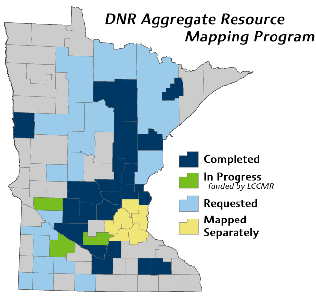 Map of DNR aggregate resources completed, in progress, mapped separately