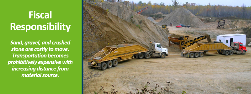 Sand, gravel, and crushed stone are costly to move. Transportation becomes prohibitively expensive with increasing distance from material source.
