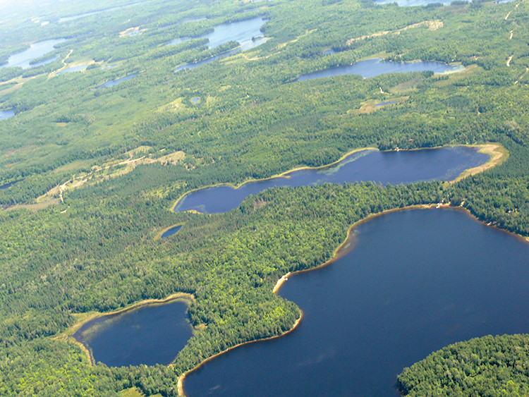 Aerial view of lakes and woodlands in Koochiching County